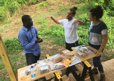Growing Dutchman Puerto Rico Natural Fiber Project  - Timote talking with local natural fibers farmers Leila Mattina and Leonardo Laboy of Trama Agrocultura